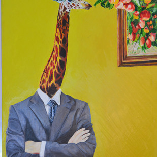 Giraffe by Dipto Narayan Chattopadhyay, Surrealism Painting, Oil on Canvas, Green color