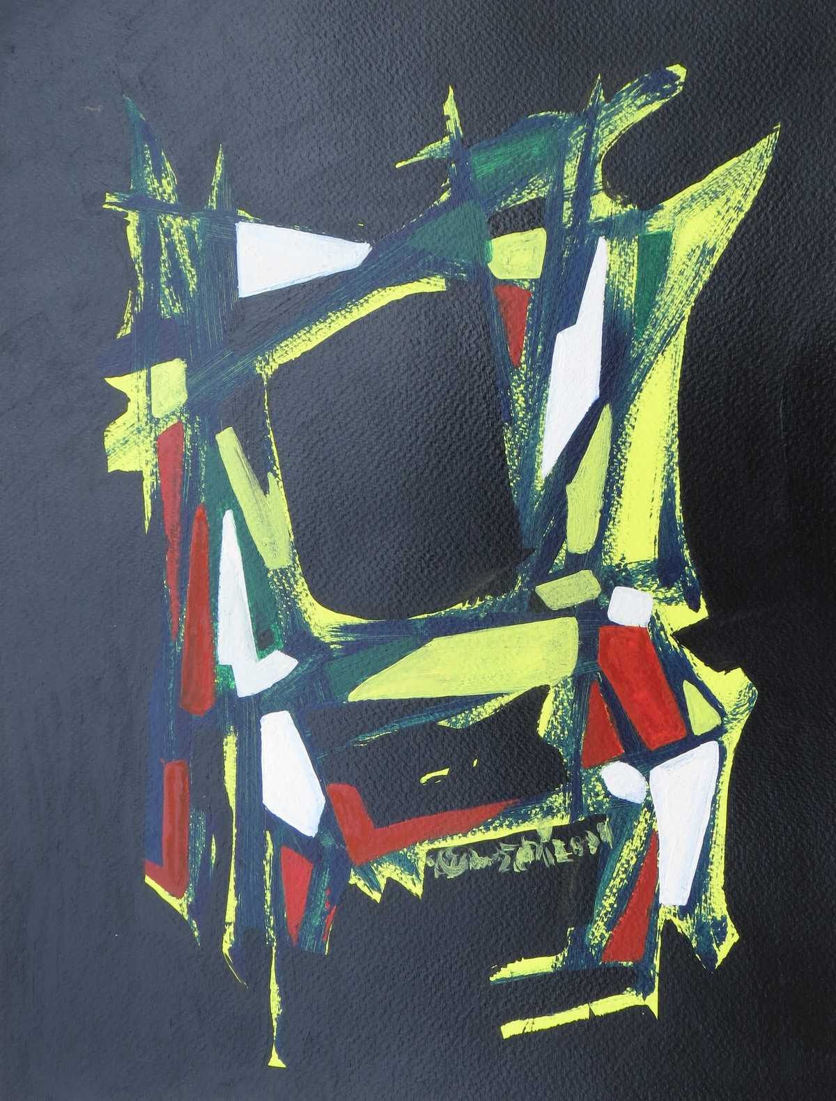 the dancing chair. by Soumya Chakraborty, Abstract Painting, Acrylic on Paper, Green color