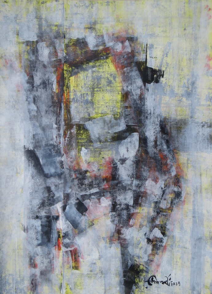 the chair by Soumya Chakraborty, Abstract Painting, Acrylic on Paper, Gray color