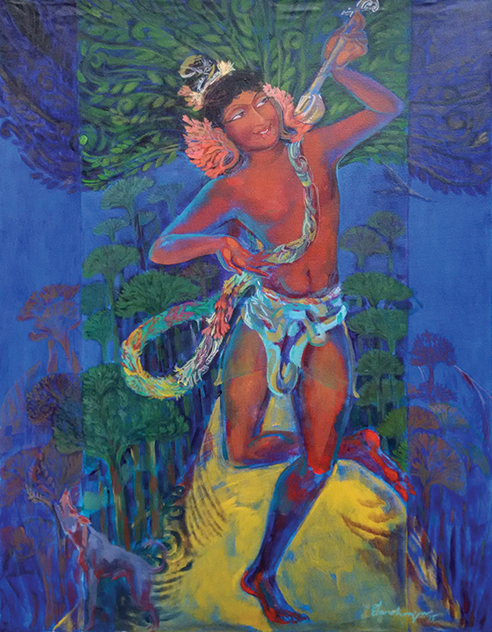 Bairavi Raga by Elan Cheziyan, Expressionism Painting, Acrylic on Canvas, Blue color