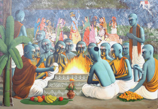 Havan by Sanjay N Raut, Traditional Painting, Acrylic on Canvas, Beige color