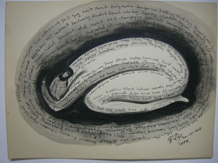 Jeeyo aur Jeene doh 1 by Kanchan Chander, Expressionism Drawing, Acrylic & Ink on Paper, Gray color