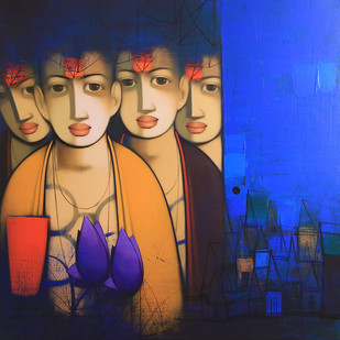 Untitled by Anand Panchal, Expressionism Painting, Acrylic on Canvas, Blue color