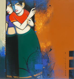 Untitled by Anand Panchal, Expressionism Painting, Acrylic on Canvas, Orange color