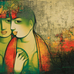 Untitled by Anand Panchal, Expressionism Painting, Acrylic on Canvas, Beige color