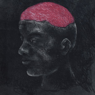 The Mind by Chandan baruah, Expressionism Printmaking, Intaglio on Paper, Gray color