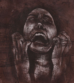 untitled by Chandan baruah, Expressionism Printmaking, Intaglio on Paper, Brown color