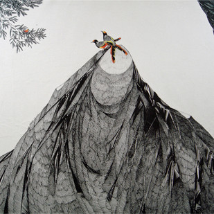 Nature Speaks... by Umakant Kanade, Illustration Painting, Pen & Ink on Canvas, Gray color