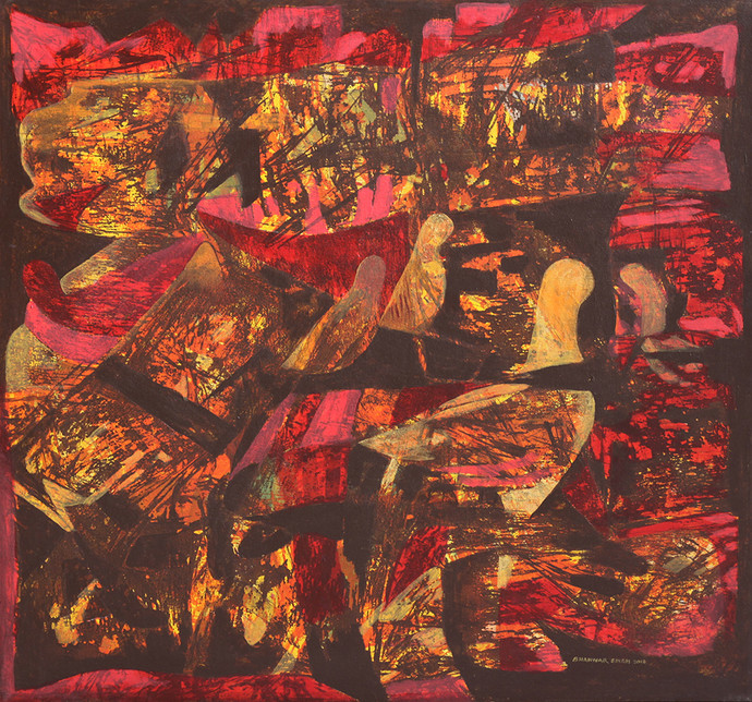 Roop by Bhanwarsingh Panwar, Expressionism Painting, Acrylic on Canvas, Brown color