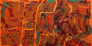 Roop by Bhanwarsingh Panwar, Abstract Painting, Acrylic on Canvas, Brown color