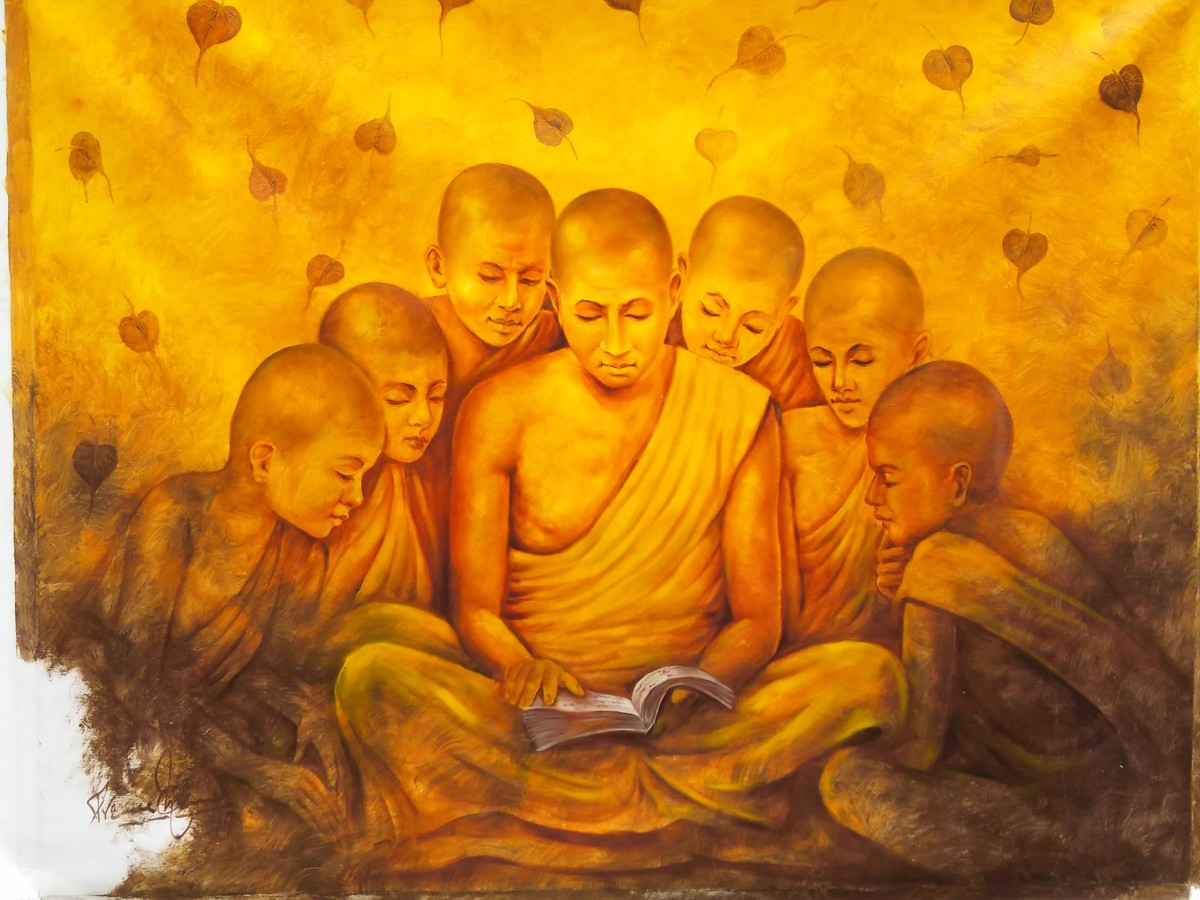Buddha Series by prince chand, Expressionism Painting, Oil on Canvas, Orange color
