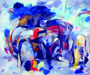 Canvas 6 by Surya Prakash, Abstract Painting, Oil on Canvas, Blue color