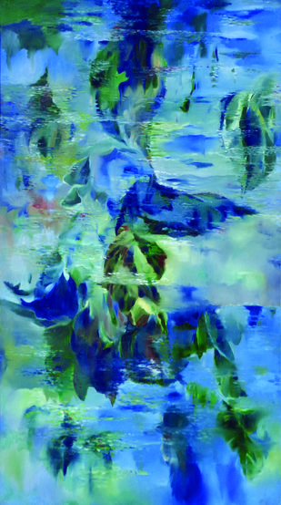 Reflections by Surya Prakash, Abstract Painting, Oil on Canvas, Blue color