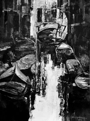 Venice - 10 by Surya Prakash, Expressionism Painting, Acrylic on Paper,