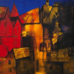 Day Breaking by Paresh Maity, Expressionism Painting, Oil on Canvas, Brown color