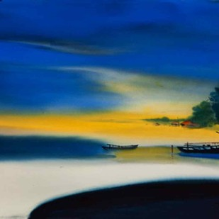 Winter Morning by Paresh Maity, Impressionism Painting, Acrylic on Canvas, Blue color