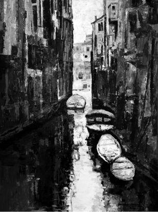 Venice - 9 by Surya Prakash, Impressionism Painting, Acrylic on Paper,