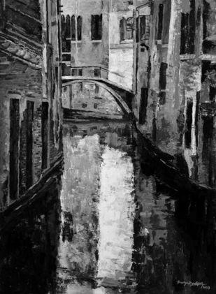 Venice - 8 by Surya Prakash, Impressionism Painting, Acrylic on Paper,