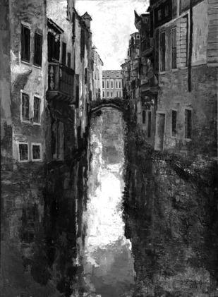 Venice - 7 by Surya Prakash, Impressionism Painting, Acrylic on Paper,