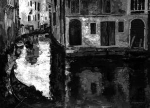 Venice - 11 by Surya Prakash, Impressionism Painting, Acrylic on Paper,