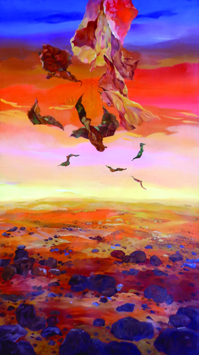 Flight by Surya Prakash, Surrealism Painting, Oil on Canvas, Brown color