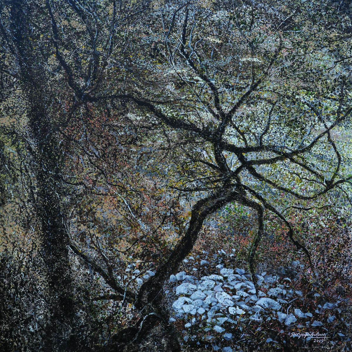 Untitled by Surya Prakash, Impressionism Painting, Acrylic on Canvas, Gray color