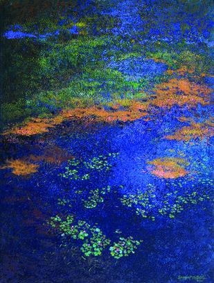Azure by Surya Prakash, Impressionism Painting, Acrylic on Canvas, Blue color