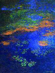 Azure by Surya Prakash, Impressionism Painting, Acrylic on Canvas, Blue color