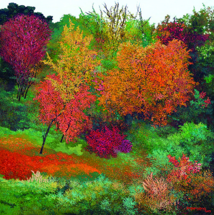The fall in New Hampshire by Surya Prakash, Impressionism Painting, Acrylic on Canvas, Brown color