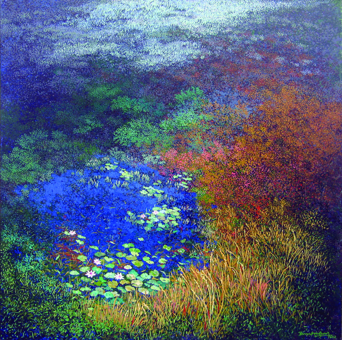 At the pond side by Surya Prakash, Impressionism Painting, Acrylic on Canvas, Blue color