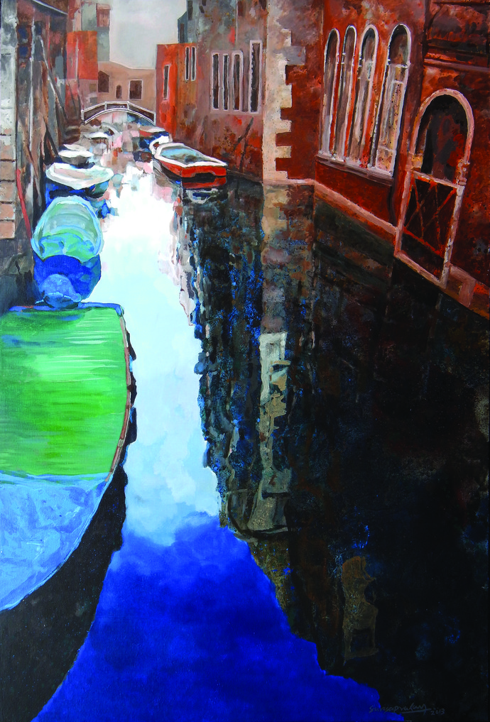 Venice - 1 by Surya Prakash, Impressionism Painting, Acrylic on Canvas, Brown color