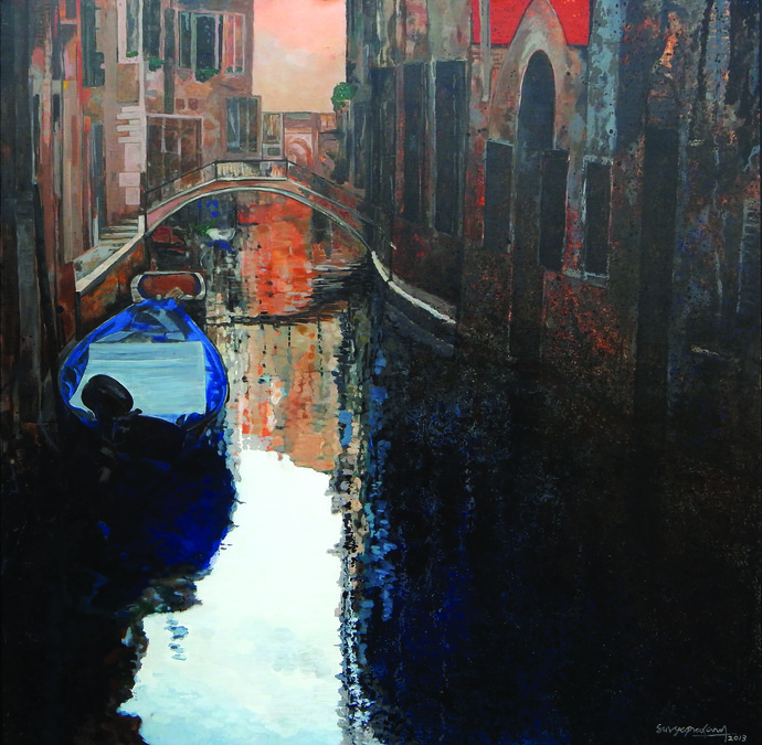 Venice - 6 by Surya Prakash, Impressionism Painting, Acrylic on Canvas, Gray color