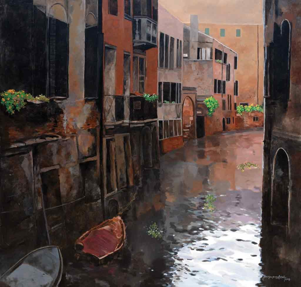 Venice - 2 by Surya Prakash, Impressionism Painting, Acrylic on Canvas, Brown color