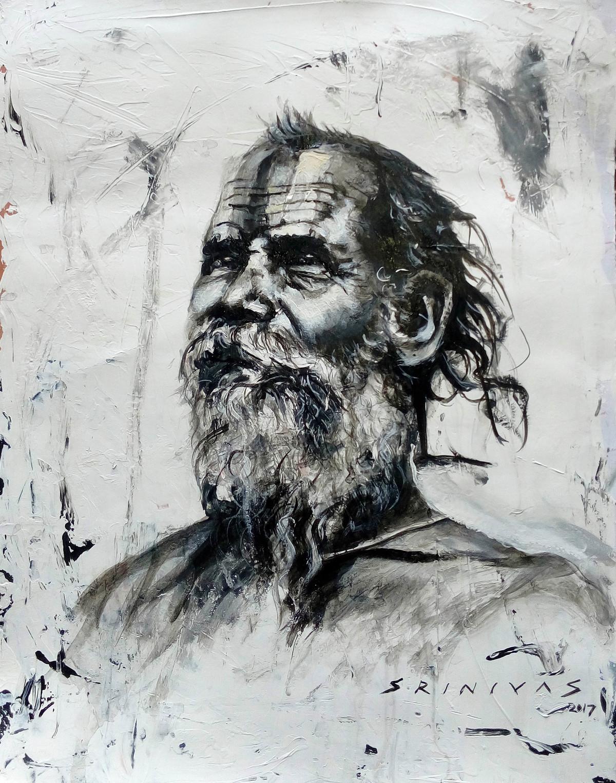 Sadhu by Sreenivasa Ram Makineedi, Expressionism Painting, Acrylic on Paper, Gray color