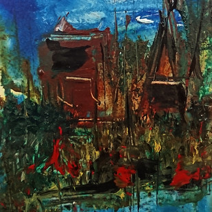 Ruralscape by Vikash Kalra, Expressionism Painting, Acrylic on Paper, Brown color