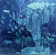 Chaos and Creation by Vasundhara Anand, Expressionism Printmaking, Etching and Aquatint, Blue color