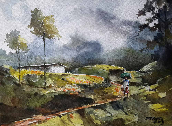 Munnar Days 3 by Mopasang Valath, Impressionism Painting, Watercolor on Paper, Gray color