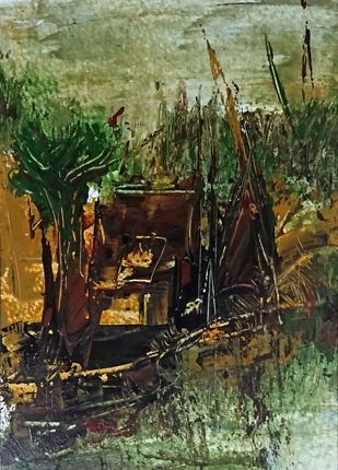Ruralscape by Vikash Kalra, Expressionism Painting, Acrylic on Paper, Green color