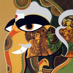 Lord Ganesha by Bolgum Nagesh Goud, Traditional Painting, Mixed Media on Canvas, Brown color