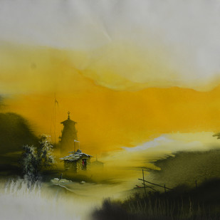 Untitled by Bikas Poddar, Impressionism Painting, Watercolor on Paper, Green color