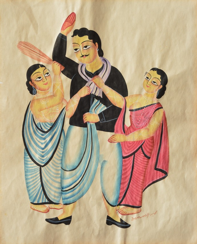 Untitled Biwi babu series by KALAM PATUA, Folk Painting, Watercolor on Paper, Beige color