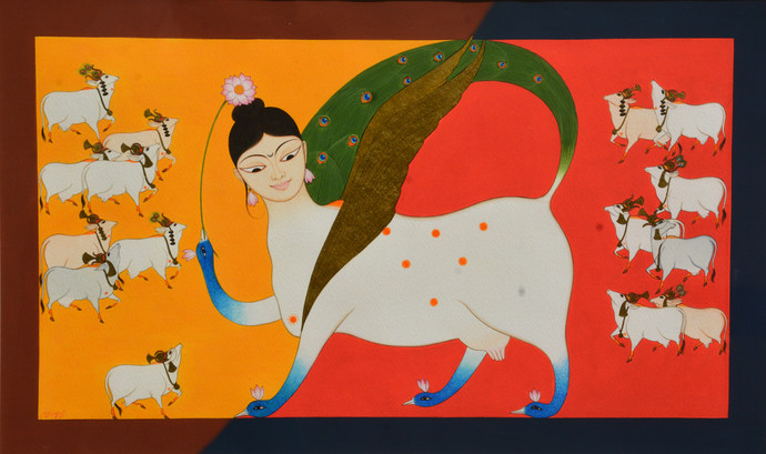 Untitled by Yugal Kishor Sharma, Surrealism Painting, Tempera on Paper, Brown color