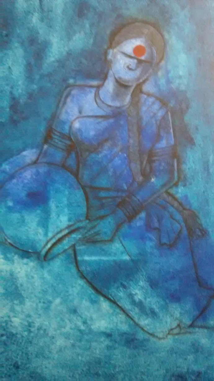 Waiting by Janaki Injety, Expressionism Painting, Acrylic on Canvas, Cyan color