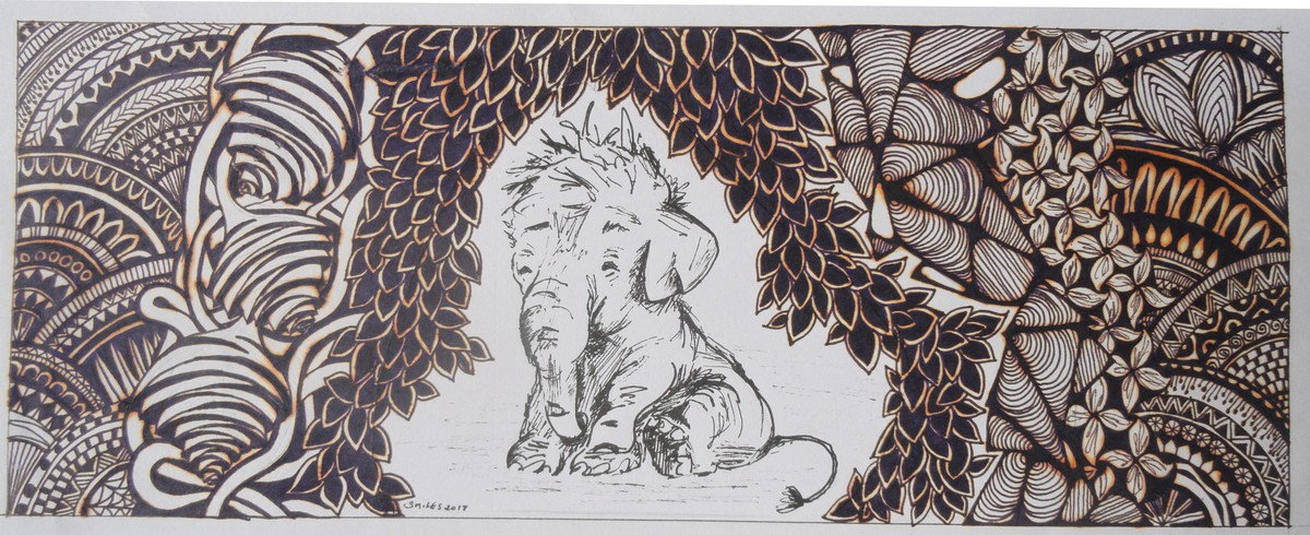 Elephant by Chesley Devaiah, Illustration Painting, Pen & Ink on Paper,