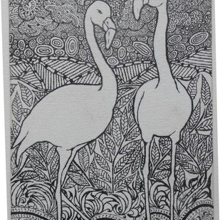 Flamingos by Chesley Devaiah, Illustration Painting, Pen & Ink on Canvas,