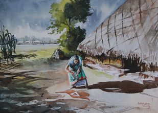 Rustic Life 1 by Mopasang Valath, Impressionism Painting, Watercolor on Paper, Gray color