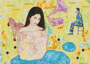 A woman, black dots and others by Abhisek Dey, Expressionism Painting, Acrylic on Canvas, Beige color