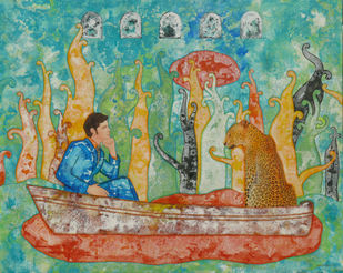 Two passengers by Abhisek Dey, Expressionism Painting, Acrylic on Canvas, Green color