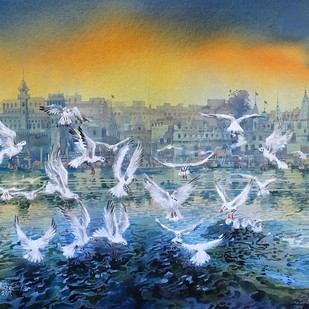 VARANASI GHAT-31 by Bhuwan Silhare, Impressionism Painting, Acrylic on Canvas, Blue color