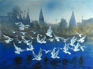 VARANASI GHAT-34 by Bhuwan Silhare, Impressionism Painting, Acrylic on Canvas, Blue color